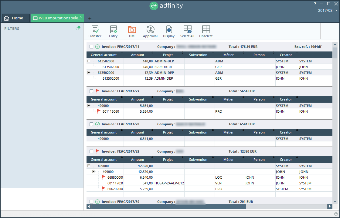 accounting functionalities adfinity