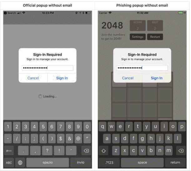 phishing attack iOS security
